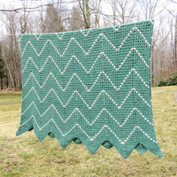 """Crochet afghan blanket throw in teal-green and white chevron or zig zag pattern - Cottage chic decor 67"""" x 45"""""""