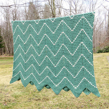 "Crochet afghan blanket throw in teal-green and white chevron or zig zag pattern - Cottage chic decor 67"" x 45"""