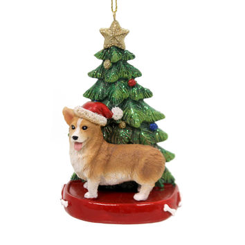 Holiday Ornaments Dog With Tree Ornament Resin Ornament