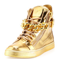 Men's Metallic Chain & Zipper High-Top Sneaker, Gold - Giuseppe Zanotti