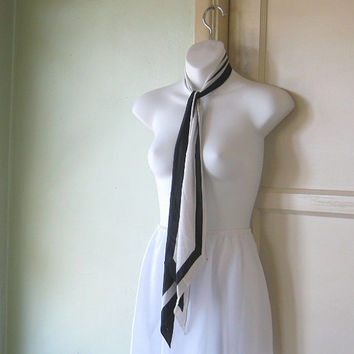 Tres French '60s Silk Off-white/Black Silk Neck Tie/Head Wrap/Scarf - Vera Vintage Striped Silk Scarf - Minimally Chic Black Stripe Scarf