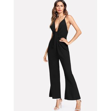 Criss Cross Open Back Flare Jumpsuit