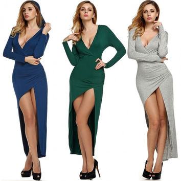 Women Sexy V Neck Long Sleeve Hooded Slim High Slit Long Irregular Dress Party Casual