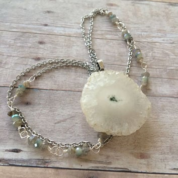 White Stalactite Necklace with Labradorite Solar Quartz Necklace Quartz Layering Necklace Solar Quartz Pendant Necklace Boho Jewelry (N90)