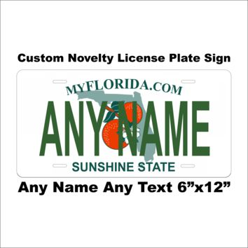Custom Personalized Florida State License Plate Tag Novelty Car Auto Vehicle