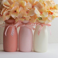 Pink Baby Shower Decor Pink Baby Shower Centerpiece  Girl Baby Shower Decoration Pink Nursery Decor Pink Home Decor Flower Vase Milk Bottles