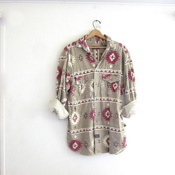 Vintage southwestern shirt. button down flannel shirt. oversized western shirt.