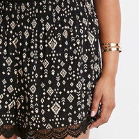 Crocheted Diamond Print Shorts