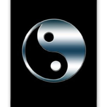 Yin Yang Symbol in Smokey Blue Chrome Iphone 4 Quality TPU Soft Rubber Case for Iphone 4 - AT&T Sprint Verizon - White Case