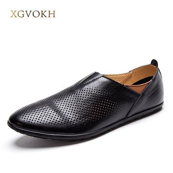Men Genuine Leather Driving Moccasin Breathable Hollow Men Casual Shoes Solid Flats