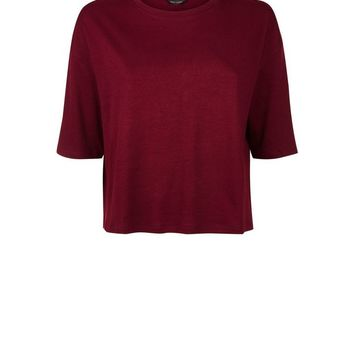 Burgundy Drop Shoulder Boxy T-Shirt | New Look