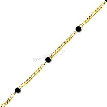 Black Beads  Anklet 18kts of Gold Plated