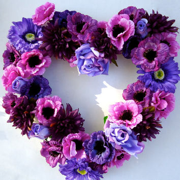 Cemetery Floral Heart Shaped Memorial Remembrance Wreath -  Wreath, Purple floral stems, Personalized, Fathers Day