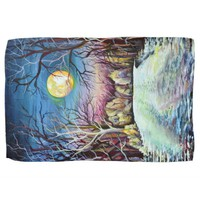 Silent Night Winter Full Moon in Sweden Towel