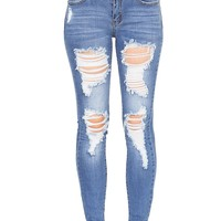 Burnout Ankle Skinny Jeans