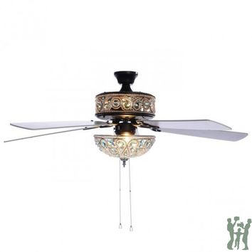 "50"" Chandelier Crystal Ceiling Fan - Turquoise by River of Goods Item: 17572"
