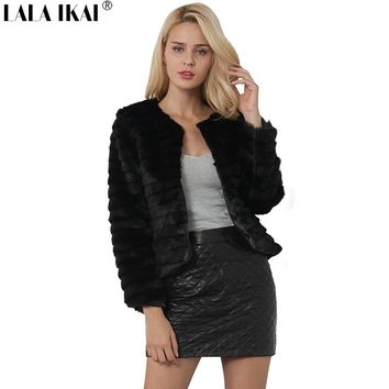 2018 Brand LALA IKAI Women winter Faux Fur Jackets for female fashion chic lady harajuku Vintage solid black Coat SWQ0417 45