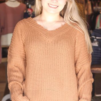 {Caramel} Cropped + Frayed V-neck Sweater