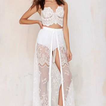 Kiss Them For Me Lace Tie Skirt - White