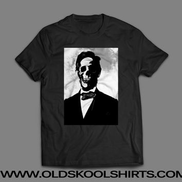 ABE LINCOLN SKULL USA PRESIDENT *OLDSKOOL CUSTOM ARTWORK* Men Shirt *FULL FRONT*