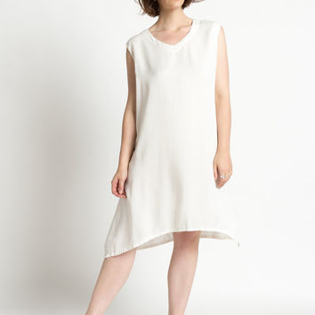 Vintage 90s Ivory White Tencel Sleeveless Minimal Tunic Dress | M/L