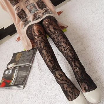 Hot Fashion Women Sexy Black Fishnet Pattern Jacquard Calcetines Leg Warmers Stockings Pantyhose Tights 1pcs dww05