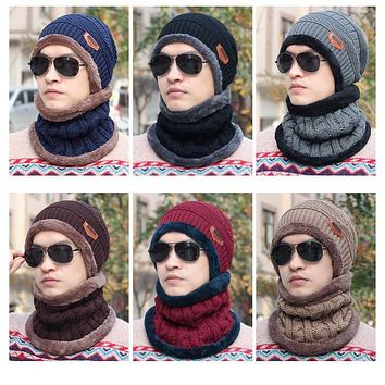 New Fashion Hats Men Winter Wool Ski Hat scarf Set Head hooded Cap Earmuffs Head Caps Male beanie mask balaclava gorro masculino