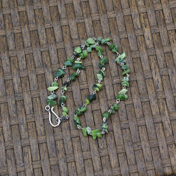Men's Green Jade Necklace ~ Canadian Nephrite Jade ~ Irregular Stones ~ British Columbia Jade ~ Good Luck Stones ~ Hippie Style