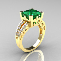 French Vintage 14K Yellow Gold 3.8 Carat Princess Emerald Diamond Solitaire Ring R222-YGDEM