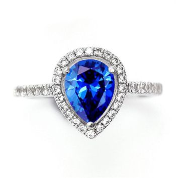 Fashion Blue Tear Cut Pear Halo Stone September Birthstone Ring for Women Bridal Wedding Jewelry