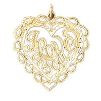 Gold charms- 14K GOLD SAYING CHARM - I LOVE YOU #10182