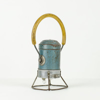 Vintage Railroad Lantern Teal Blue