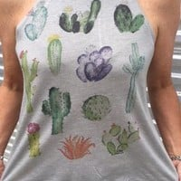"Gina ""Cactus Multi"" Grey High Neck Tank"