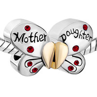 Pugster Mother Daughter Separable Butterfly Charm. Fits European Charm Bracelets (Pandora, Trollbeads, Dione, Chamilia) - Mother's Day Gift