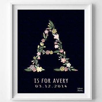 Personalized, Custom Name, Avery Art, Baby Shower, Letter A, Monogram, Poster, Nursery, Alphabet A, Print, Baby Boy, Girl, Initial [NO 669]