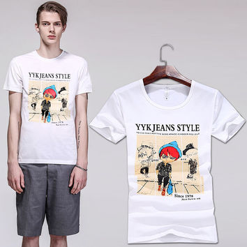 Men's Fashion Summer Stylish Casual Short Sleeve Korean Print Cartoons Round-neck T-shirts [6541359683]