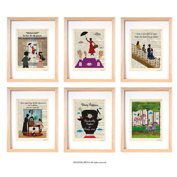 Mary Poppins set of 6 art prints-Mary Poppins dictionary print-children wall art-nursery prints-gift idea-wall art-custom art print-DP242