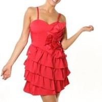 Sexy Clubwear Dress Red Side Layered Ruffle Strap Cacktail Mini