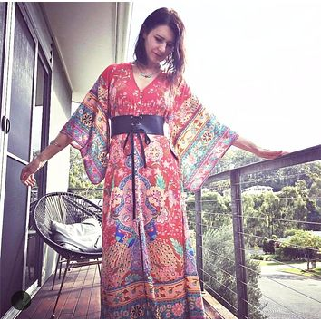 Women peacock and floral print kimono sleeves v neck ruby lotus kimono gown rayon music festival maxi dress