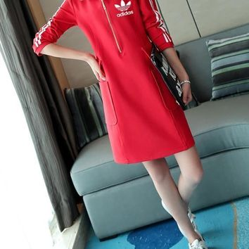 Adidas Women Sport Casual Stripe Zip Pocket Hooded Long Sleeve Mini Dress