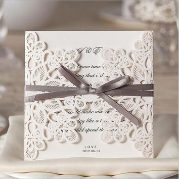New Arrival Vertical Laser Cut Flower with Coffee Bowknot Wedding Invitations, 50 pcs/lot WM207