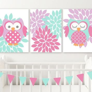 GIRL OWL Wall Art, Pink Purple Aqua Owl Nursery Wall Decor, Girl Owls Canvas or Print, Pink Purple Aqua Girl Owl Bedroom Wall Decor Set of 3