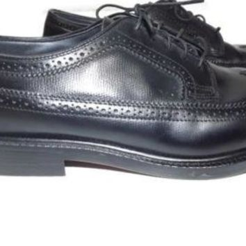 Mens SEARS Wonderlite Cushioned Insoles Black Leather Wing Tip Shoes Size 9.5 2E