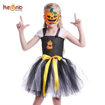 Black & White Tutu Dress for Girls Halloween Carnival Party Kids Pumpkin Dress with Matching Mask Children Cosplay Costume