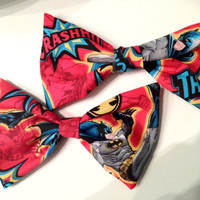 Red Batman Hair Bows (set of two)