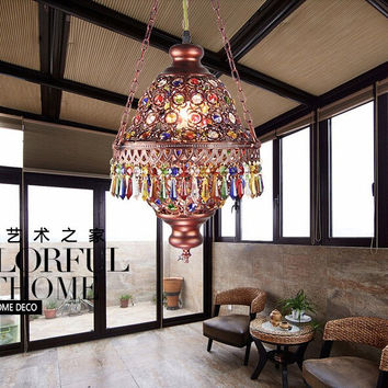 Colorful Crystal Pendant Lamps Lighting Fixtures 1L Bohemian Style Iron Ceiling Pendant LampsAc110-240V