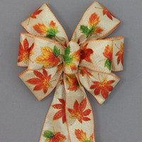 Bright Fall Leaves Thanksgiving Wreath Bow