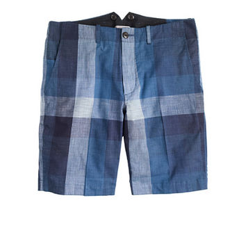 J.Crew Mens Wallace & Barnes Worker Suit Short In Indigo Buffalo Check