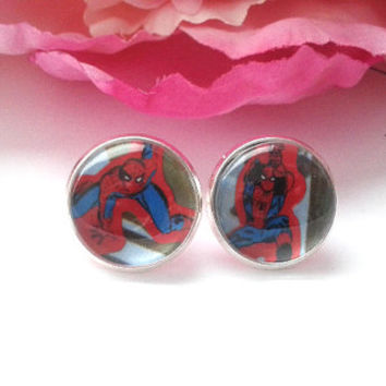 Superhero Stud Earrings - Studs - Earrings - Fake Plugs - Earrings Posts - Posts - Stud Earrings - Earring Studs - Comic Book Jewelry