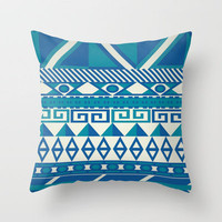 Aztec Blue Green Pattern Throw Pillow by unidostees | Society6